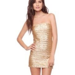 FOREVER 21 Gold Sequin Strapless Fitted Tube Dress
